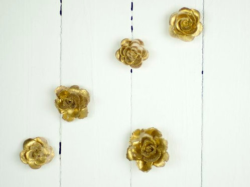 'Gilded' - Small Gold Ceramic Roses