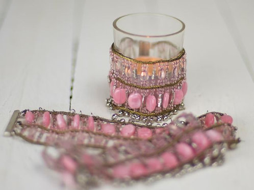 'Pearl' - Pink Beaded Tea Light Wraps