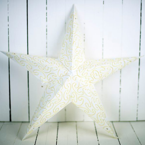 'Starlight Gold' - Large White & Gold Star Lantern