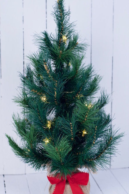 Small green Christmas tree centrepiece hire Brisbane event styling