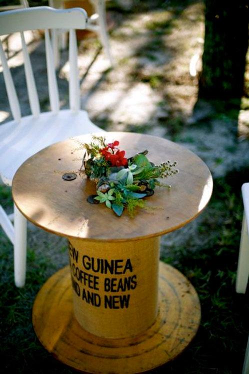 'Guinea' - Rustic Burlap & Wood Coffee Table
