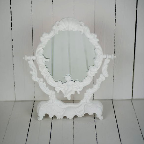 'Snow White' - White Mirror On Stand