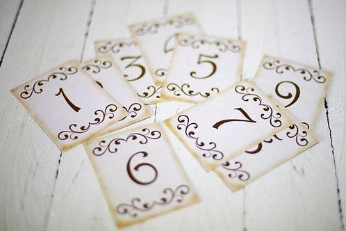 'Silencio' Vinatge Style Table Numbers