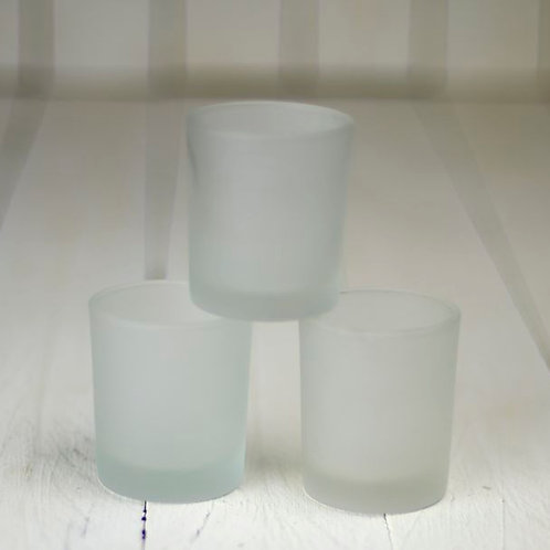 'Frost' Round Frosted Tea Light Holders