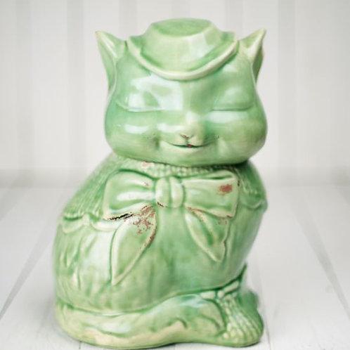 'Meow' Vintage Cat Biscuit Barrel