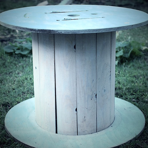 'Wheely?' - Whitewashed Wheel Coffee Table