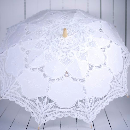 'Miss Pansy' - White Battenburg Lace Parasol