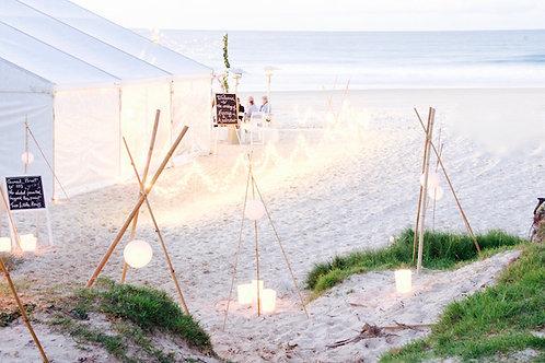 Bamboo tipi & rice paper lantern hire Brisbane beach wedding styling on Stradbroke Island