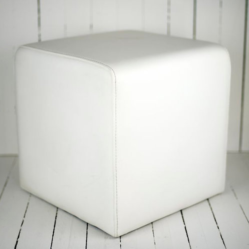 'White Squared' - White Leather Ottoman