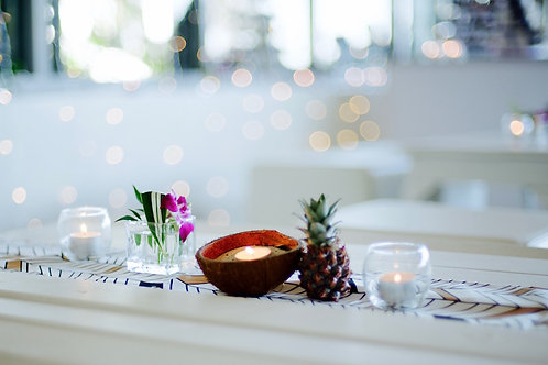 Coconut shell tea light holder hire with pineapple & tropical styling Brisbane wedding styling