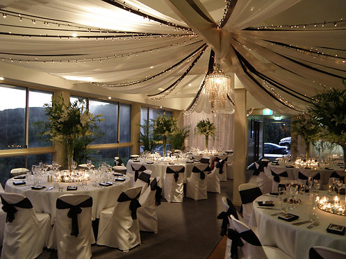 'Palace' White Drapes With Ribbons & Fairy Lights