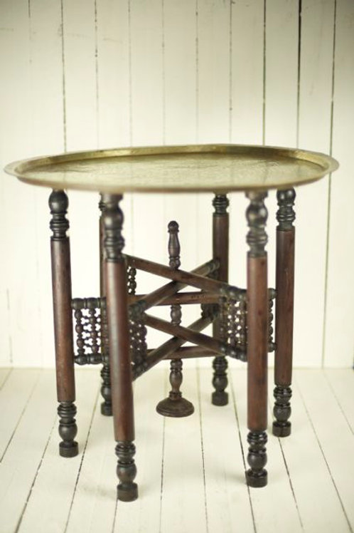 """Benares' - Brass & Wood Benares Occasional Table"