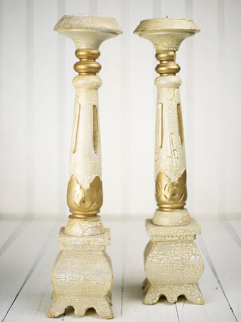 'Aimee' - Cream & Gold Vintage Candlesticks