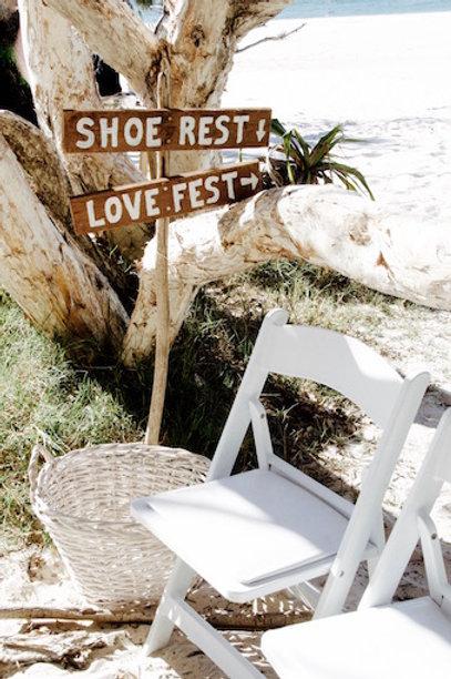 Rustic wedding shoe station sign hire Brisbane wedding & event styling on the beach Stradbroke Island
