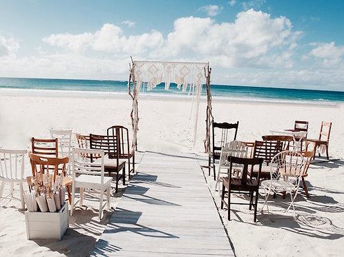 White washed wooden aisle runner hire Brisbane wedding & event styling at beach wedding Stradbroke Island