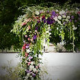 Flower arch detail pink & lilac flowers