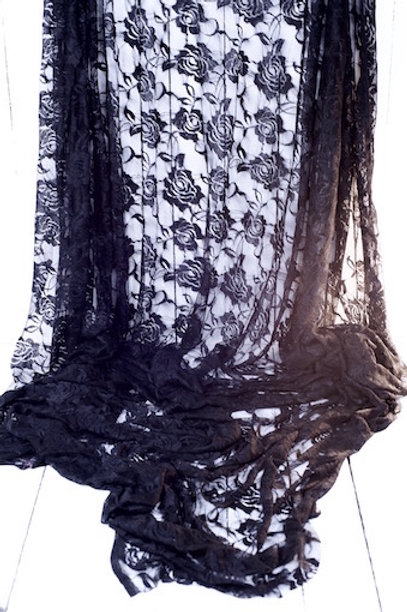 'Black to Black' - Black Lace Tablecloth Overlay