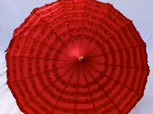 'Miss Ruby Frill' Red Frilled Parasol
