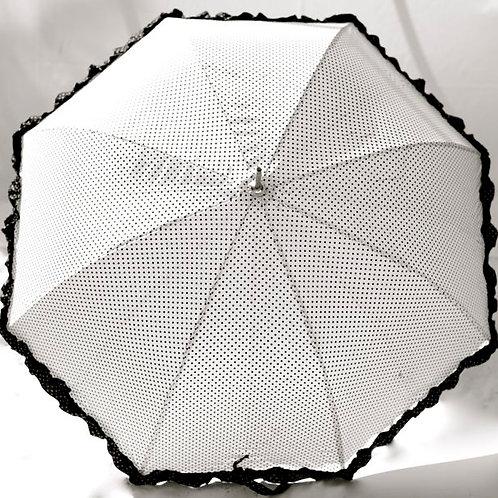 Miss B&W Frill' Black & White Polkadot Parasol