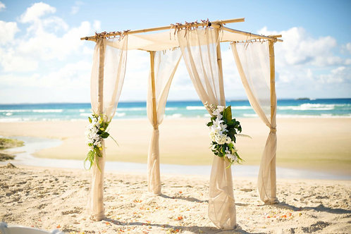 'Deannie' - Bamboo Arbour With Beige Draping
