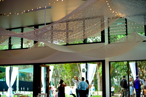'How Do I Love Thee' Lace Ceiling Draping