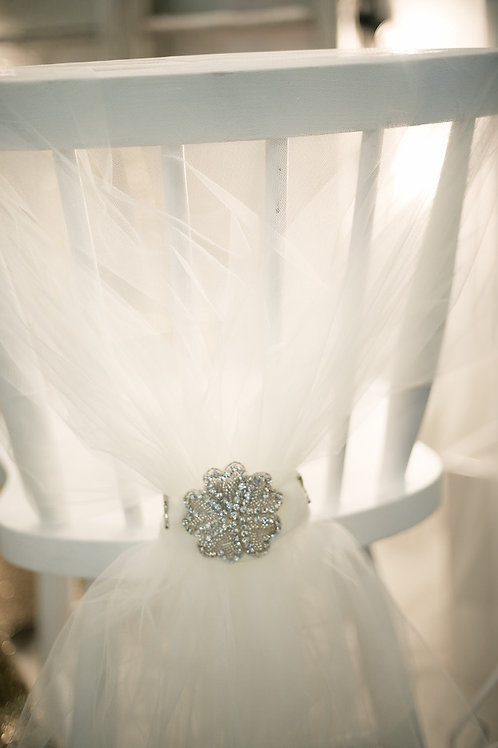 'Clovelly' - Ivory Tulle Chair Wrap