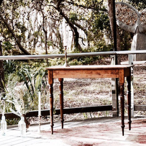 Vintage wooden registry table wedding styling at Point Lookout Community Hall wedding Stradbroke Island