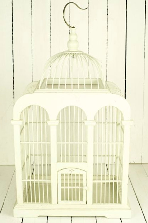 'Arch' Ivory Wooden Large Bird Cage
