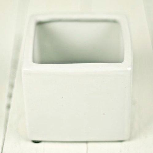 'Ava' -Small White square Ceramic Vase