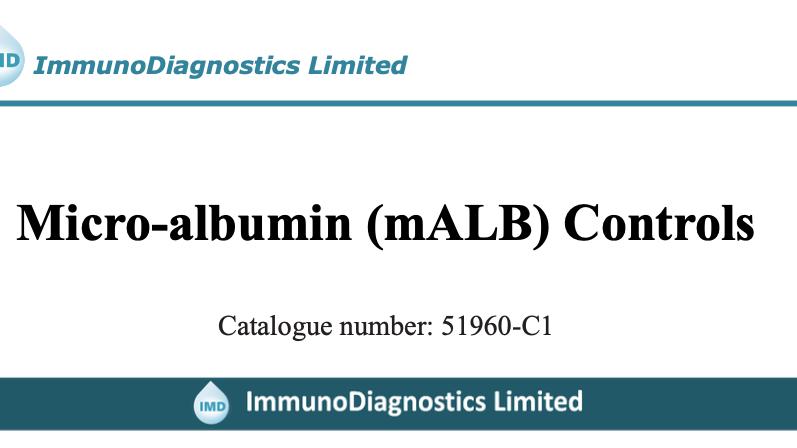 Micro-albumin (mALB) Control