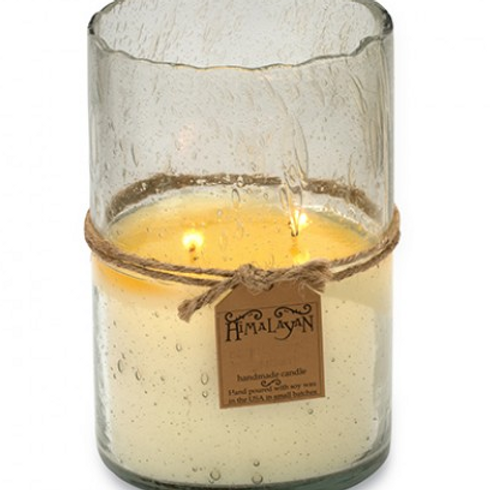 Bourbon Vanilla Hurricane Candle, Clear
