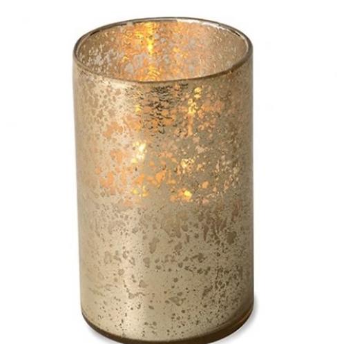 Bourbon Vanilla Hurricane Candle, Shiny Gold