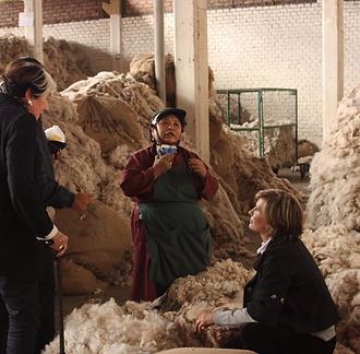 Women talking in a raw wool deposit