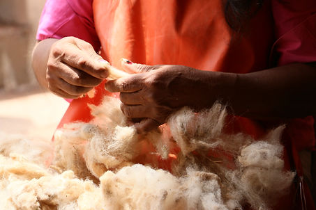Hands working the raw wool
