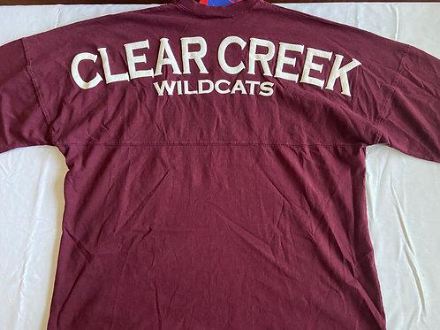 Long Sleeve Clear Creek Wildcats Oversized T-Shirt