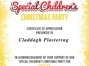 Claddagh Plastering is pleased to sponsor the Canterbury Special Childrens Christmas Party