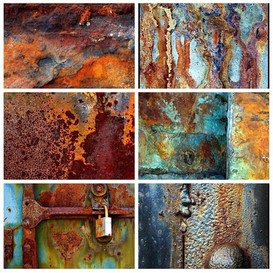 Artistic collage of oxidation samples