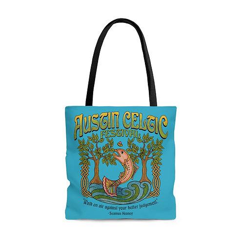 2014 Austin Celtic Festival Teal AOP Tote Bag