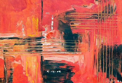 Kırmızı Yağlıboya Resim