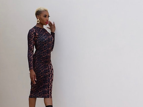 Classic leopard midi dress