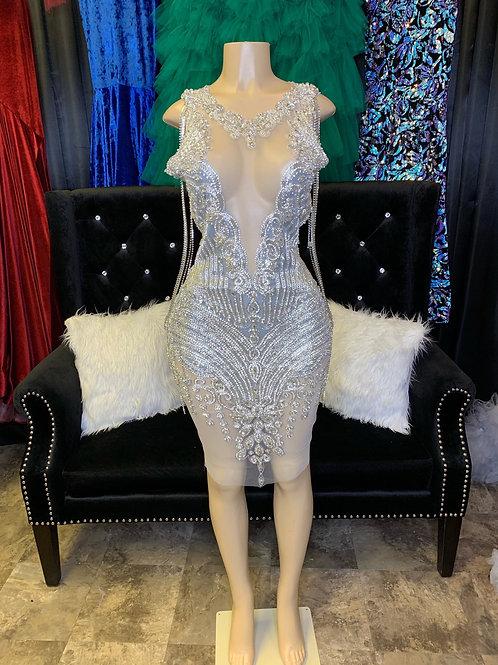Icy girl Crystal Midi Dress