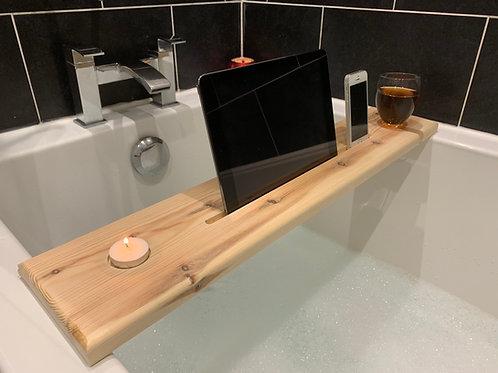 Solid wood bath caddy
