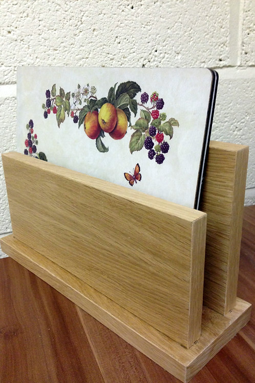Oak veneer place mat holder