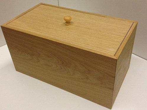 Oak veneer bread bin