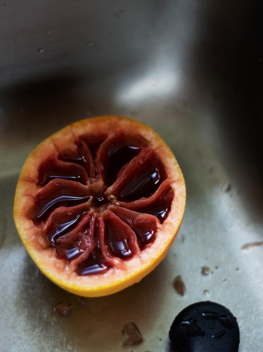 breakfast of champions, coffee from a grapefruit