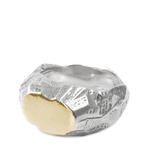 Chevalière Roc agent et or