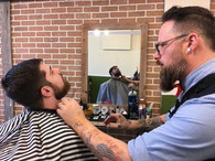 Pete, making sure beards are tidy.