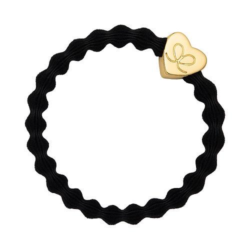 Gold Heart Black Bangle Band