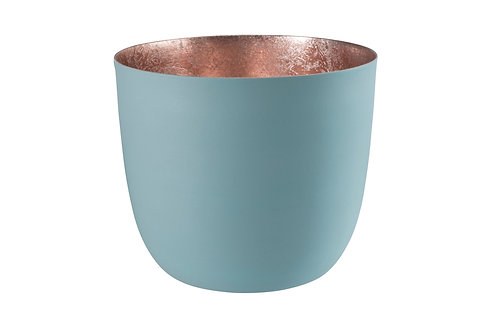 Large Pale Teal and Rose Gold Tealight Holder