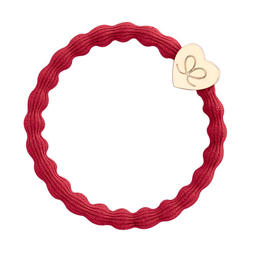 Gold Heart Cherry Red Bangle Band